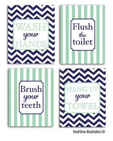 kids bathroom prints, personalized art, navy and mint, any color scheme