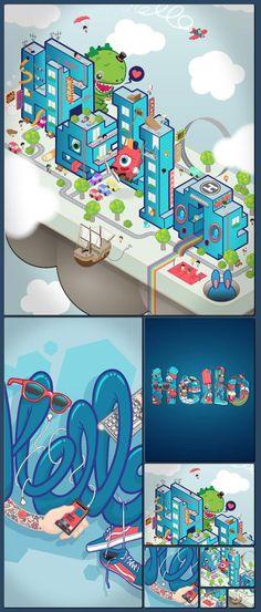 Hello Bank by BNP Paribas #illustration #isometric