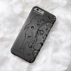 Black Lion Sugar Skull Metallic Gray Background Barely There iPhone 6 Case