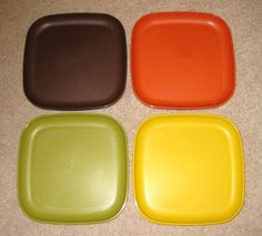 "Vintage Tupperware 8"" Square Plates Set of 4 New Never Used 