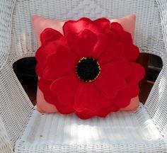 Red poppy pillow flower pillowpoppy pillowhome by Fleeceofnature