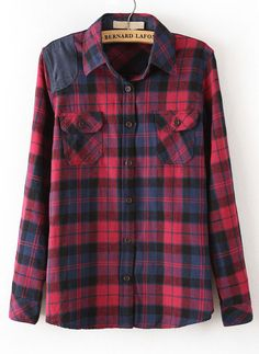 Just for the Record...Flannel shirts are back. YAY ! Red Lapel Long Sleeve Plaid Pockets Blouse - Sheinside.com