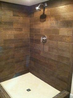 Wood Tile Shower   Lip Of Shower Was Done In Wood Tile