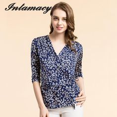 990726db149c5 Pure Silk Women s Blouses Femme Blouse Women Blusa Female Crossover V-neck  Fashion Ladies Tee Shirts For Woman Tops