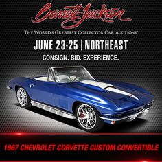 This iconic 67 Chevy Vette is headed to our Auction and can rev up to with its Hot Cam crate engine from Propelled by a transmission and riding on wheels, get ready to see this beauty cross the block at in Chevrolet Corvette, Chevy, Corvette Wheels, Crate Engines, Barrett Jackson Auction, Collector Cars, General Motors, Connecticut, Convertible