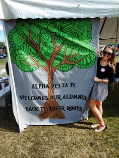 Great banner for Homecoming or alumnae events | Alpha Delta Pi welcomes our alumnae back to their roots. | Banner by Epsilon Kappa-Troy University