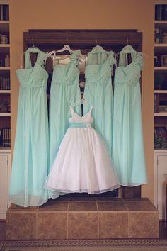 9f0b6ef25 Aqua bridesmaid dresses. Chelsea + Daniel | Lenora's Legacy Wedding - Image  credit: Michelle