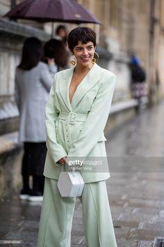 A guest is seen wearing minoutside Nanushka during Paris Fashion Week. Paris Fashion, Mint, Makeup, How To Wear, Make Up, Beauty Makeup, Bronzer Makeup, Paris France Fashion, Peppermint