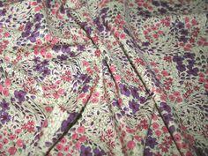 Cream/Pink/Purple Floral Print Cotton Lawn Designer Dress Fabric | Fabric | Dress Fabrics | Minerva Crafts