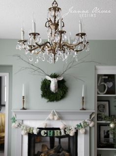 Our Christmas Home Tour from 2015 - Jeanne Oliver Christmas Mantles, Christmas Home, Mixed Emotions, House Projects, House Tours, Christmas Ideas, Ceiling Lights, Holidays, Lighting