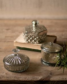 Set of Three Mercury Glass Containers One Each Design | Madison + Parker