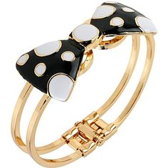 Betsey Johnson Polka Dot Bow Hinge Bangle ($35) ❤ liked on Polyvore