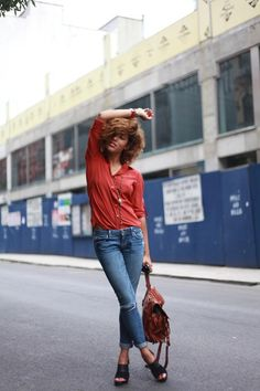 Shop this look on Kaleidoscope (blouse, jeans, sandals, purse)  http://kalei.do/WDZ49IF4DtZ8lOTH