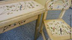 """Стул """"Птичка"""" - бежевый,стульчик,стул,роспись мебели,Роспись по дереву"""