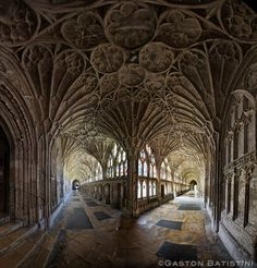 The cloister from the Cathedral of Gloucester or the Cathedral Church of St Peter and the Holy and Indivisible Trinity, England by Gaston Batistini