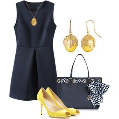 Navy dress by ljjenness on Polyvore featuring Jimmy Choo, MICHAEL Michael Kors, Baccarat and Zoe