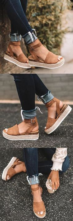 $38.99 USD Summer Adjustable Buckle Platform Sandals Love Fashion, Fashion Shoes, Spring Fashion, Fashion Ideas, Crazy Shoes, Me Too Shoes, Summer Shoes, Summer Outfits, Business Casual Outfits