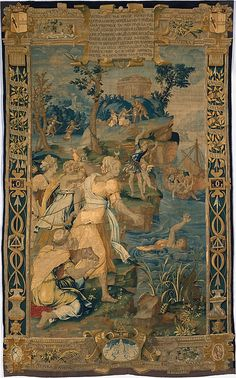 Probably designed by Jean Cousin the Elder (French, ca. 1490–ca. 1560). The Drowning of Britomartis from Scenes from the Story of Diana, 1547–59. The Metropolitan Museum of Art, New York. Gift of the children of Mrs. Harry Payne Whitney, 1942 (42.57.1) | This tapestry recounts how the Godess Diana invented fishing nets. Look closely to discover why necessity is the mother of invention. #tapestrytuesday
