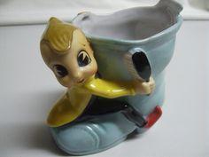 Vintage Big Eye Elf Pixie Shoe Shine Boot Planter Vase Vanity Acme China