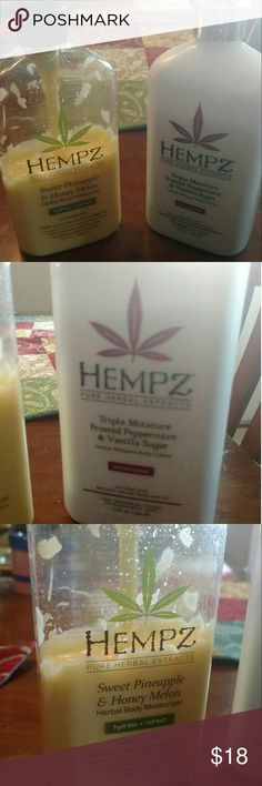 Hempz lotion bundle 2 hempz body lotions sweet pineapple and honey melon and triple moisture frosted peppermint and vanilla sugar..both of these smell sooooo good and even better on your skin... The white bottle is 80 to 85% full and the yellow one is a little under 50%...these are both 17 ounce bottles so plenty of product left..I bought them for $20 each at my local salon. Hempz Makeup