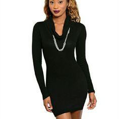 Short Black Turtleneck Dress