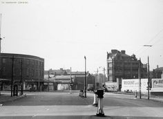 Rochdale Road junction with Swan St., on the left and Miller St., on the right with Sheude Hill straight ahead. Collyhurst, Manchester.