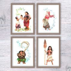 Disney princess watercolor print Set of 4 Disney by ColorfulPoster
