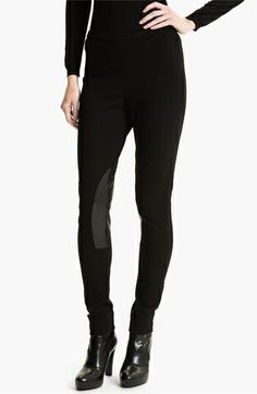 Lafayette 148 New York Leather Trim Punto Milano Pants