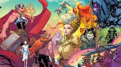 There are many incredible looking comic books out these days, but one of my favorite-looking series at the moment is thanks to the incredible art of Russell Dauterman and colorist Matthew Wilson in The Mighty Thor. Here's some choice bits of art from their wonderful work.