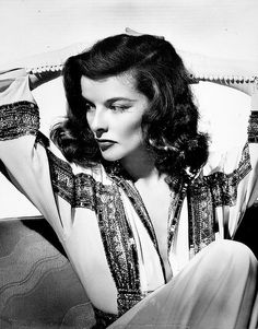 """Katharine Hepburn wears this gorgeous sparkly trimmed dress in """"The Philadelphia Story."""" It looks so modern (very to me) but it's from the Old Hollywood Glamour, Golden Age Of Hollywood, Vintage Hollywood, Hollywood Stars, Classic Hollywood, Hollywood Cinema, Hollywood Icons, Katharine Hepburn, Audrey Hepburn"""