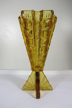 1930'S ART DECO FEIGL MORAWETZ LIBOCHOVICE CZECH ART ROCKET GLASS AMBERT VASE