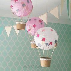 Paper lanterns, Hot air balloon and Air balloon
