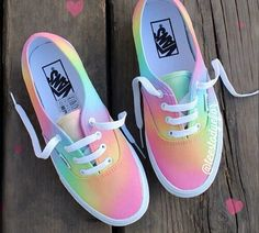 Tie dye vans, skating shoes.