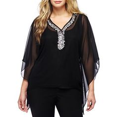 Sequin Drape Neck Shirt at JCPenney