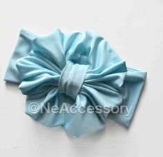 Pastel Blue Messy Bow Headwrap Baby Blue  Messy Bow by NeAccessory
