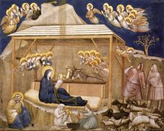 """""""Nativity"""" by Giotto 1315-20 Fresco North transept, Lower Church, San Francesco, Assisi  As is common in Medieval and early Renaissance depictions of the Nativity, Giotto conflates elements of the story of Jesus' birth from both Luke and Matthew. Note, too, the depiction of what I presume is a midwife helping to feed the Christ child after another awaits to give him a bath, thus serving as a playful counterbalance to the other pictoral symbols emphasizing Jesus' divinity."""