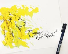 Courage, Dear Heart print | Watercolor print | Wall art | Hand lettering | Encourage | Aslan | Narnia | Lion | Courageous | CS Lewis