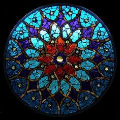 Peacock Sun glass mosaic, mandala//love this!!