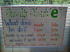 Sneaky E! I used this poster in my classroom as an interactive bulletin board. The kids are word detectives while silent reading and look for words that follow the sneaky e rule!