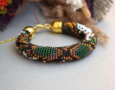 Python Bracelet Snake Bracelet Snakeskin Bracelet Crochet Bracelet Seed Bead Bracelet Beaded Bracelet Green Brown Bracelet Snake Bead Rope
