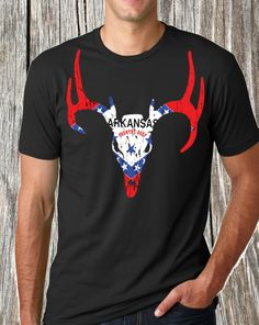 Arkansas deer flag http://www.countrydeep.com/ #Arkansas #arkansasdeer #arkansastshirt
