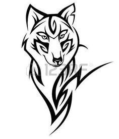 wolf head: Волк тату черный на белом Иллюстрация