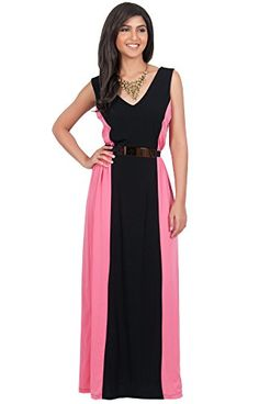 KOH KOH Womens Sleeveless Long Cocktail Gown Two Toned Evening Maxi Dress Dresses  Small  Black and Pink -- You can find out more details at the link of the image.