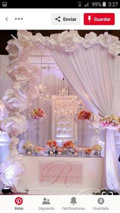 65 Ideas For Wedding Backdrop Diy Reception Head Tables Paper Flowers Wedding Show Booth, Bridal Show Booths, Wedding Shoot, Diy Wedding, Wedding Events, Wedding Day, Wedding Flowers, Weddings, Paper Flower Backdrop