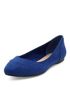 Wide Fit Blue Suedette Pointed Pumps  | New Look