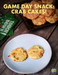 A baked RITZ cracker crust adds just enough buttery flavor to these tasty appetizers while a hint of cayenne gives them the right amount of spice. Crab Cakes and football, that sounds good to us!