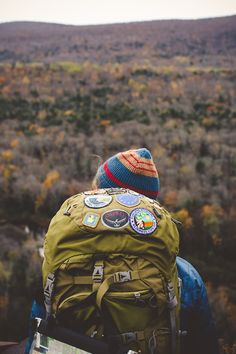 hiking backpack with patches