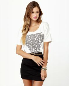 Obey Triangle of Friends Print Crop Top