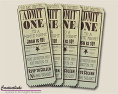 Printable Vintage Movie Ticket Invitation