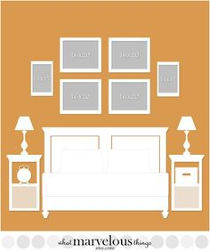 Bedroom Wall Display Template - This is great for anyone who would like to decorate their walls with photos, because you can plan how your exact arrangement will look before you put any holes in your walls!